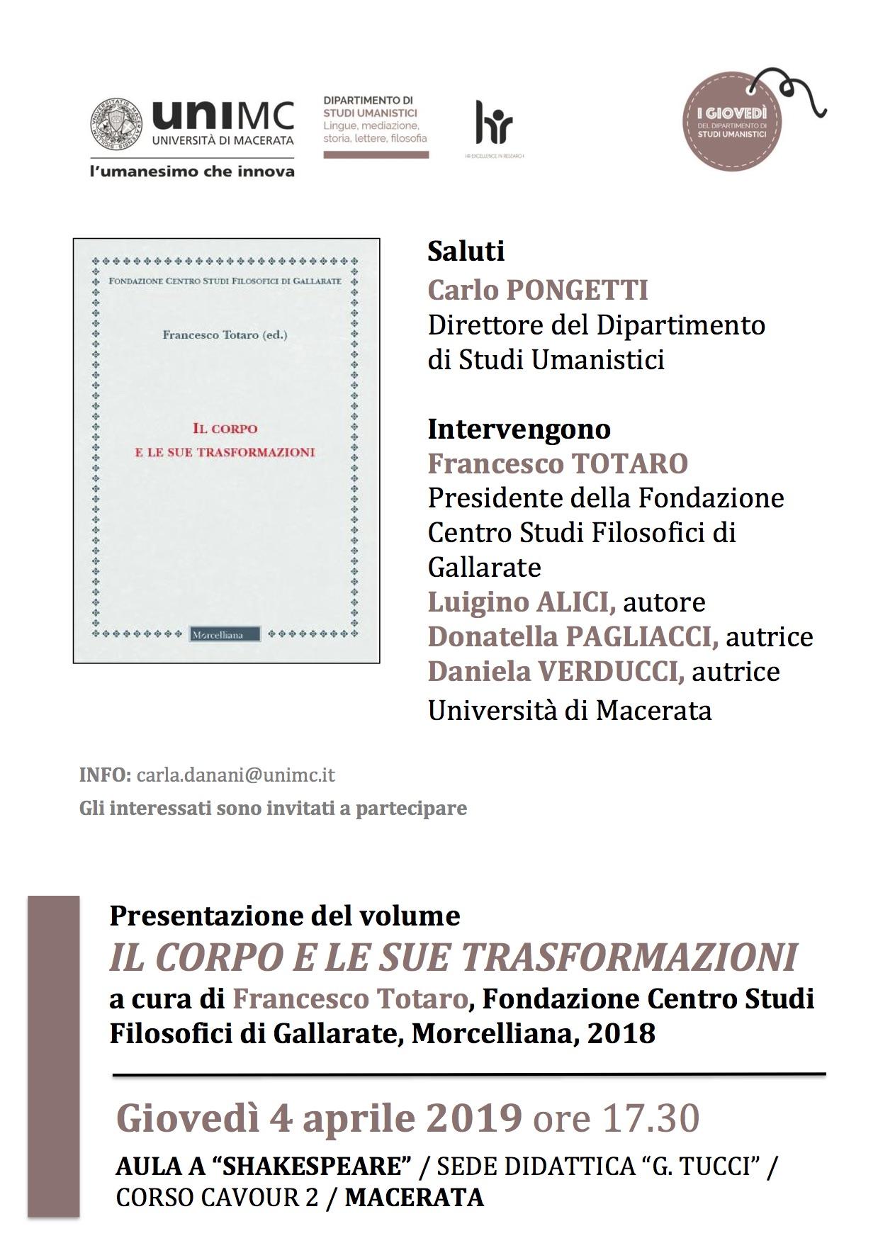 Presentazione / Il CORPO e le sue trasformazioni